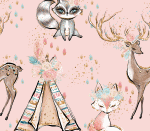 boho animals rosa